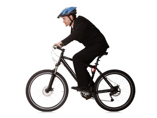 Businessman riding a bicycle