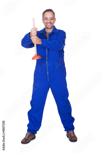 Happy Plumber Holding Plunger