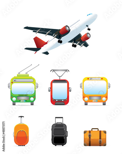 Realistic transportation / travel  icons set