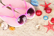 Christmas balls,seashells andh beach accessories