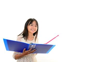 指示棒を持つ笑顔の女の子