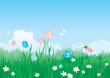 landscape of blue sky, butterflies, flowers and grass