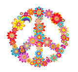 Colorful peace flower symbol