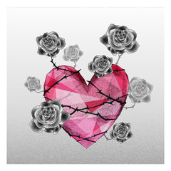 Heart with rose fall in love