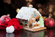 Gingerbread house, Santa hat and Christmas balls