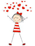 Fototapety Funny girl with hearts