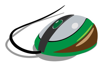 The computer mouse is green.