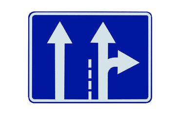 """Road sign """"Direction of traffic lanes"""" isolated"""