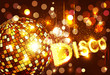 vector disco background with golden disco ball and gold letterin