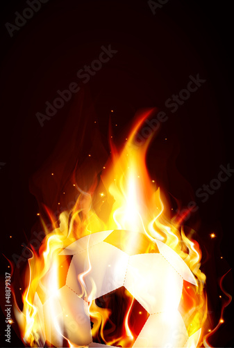vector background with a burning soccer Ball