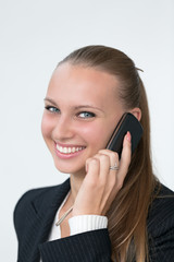 Young woman talking with phone
