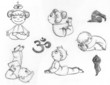 Children practicing yoga positions. Hand drawn illustration.