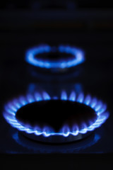 Burning gas cooker rings