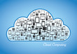 Cloud Computing Concept - A Collage of devices inside a cloud.