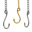 Three hooks hanging in chain