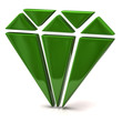 3d illustration of green diamond icon