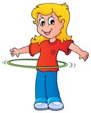 Girl exercise with hula hoop