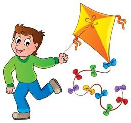 Running boy with kite