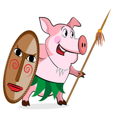 Pig - aborigine with Spear