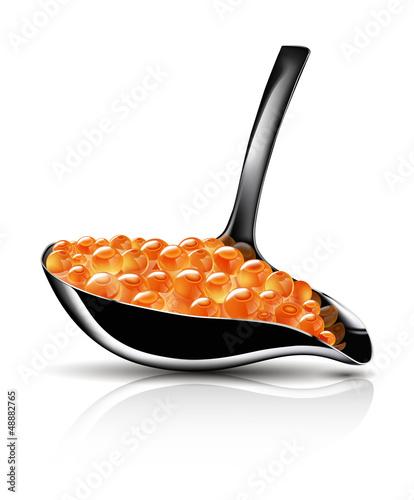Red caviar spoon (Vector Ai10)