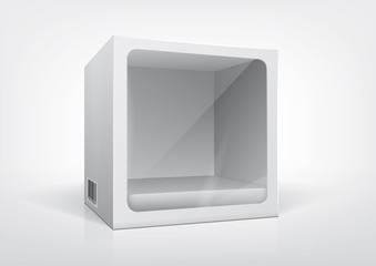 Cube-shaped package with a transparent plastic window