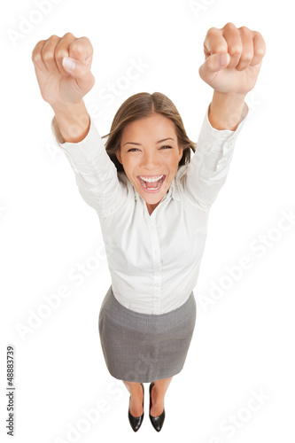 Ecstatic woman cheering and winning