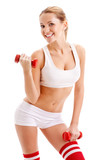 beautiful woman holding dumbbells
