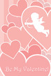 Valentine card with cupid, hearts and copy space