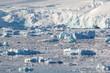 Treibende Eisbrocken vor der Zunge eines großen Gletschers