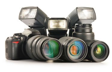 Photo equipment including zoom lenses, camera and flash lights