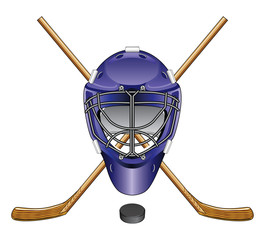 Ice Hockey Goalie Mask Sticks and Puck