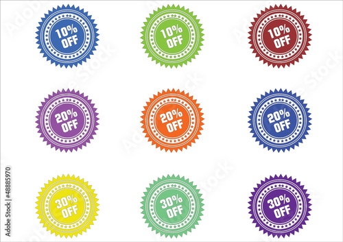 COLORFUL PERCENT OFF ICONS 10 20 30