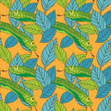 Vector seamless pattern with snake and leaves
