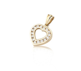 Golden heart pendant decorates by diamonds on white background