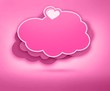 Valentines day card with heart and cloud
