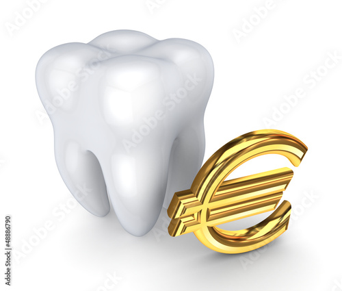 Tooth and symbol of Euro.