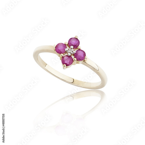 Ruby ring on golded body shape the most luxurious gift