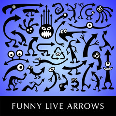 Vector set of funny live arrows.