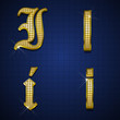 Luxurious alphabets designed with gold diamonds
