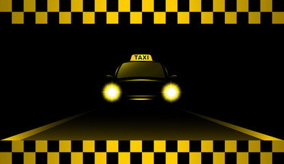 night taxi car on the road