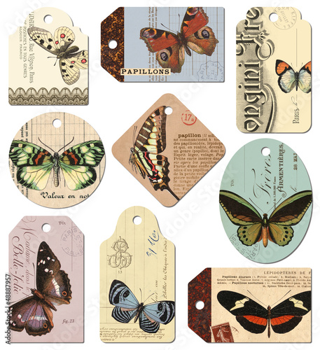 retro tags: butterflies - set of 9 designs