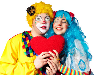 Clown giving his heart actress.