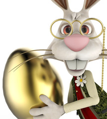 mr bunny holding a golden egg