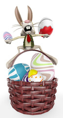 mr bunny on the basket up and down