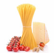 isolated spaghetti and ingredients