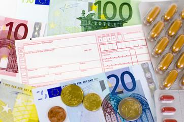 Rotes Arztrezept, Pillen und Euro-Geld