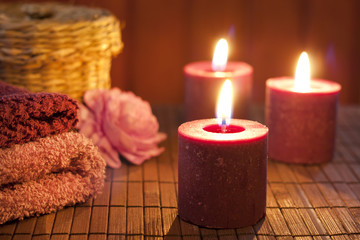 Spa concept in night with candles still life