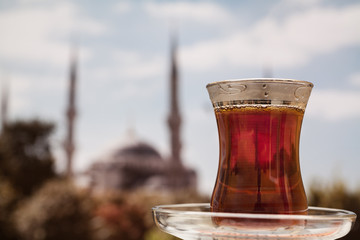 Blue Mosque through a Turkish tea. Istanbul, Turkey