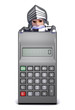 Knight looks over calculator