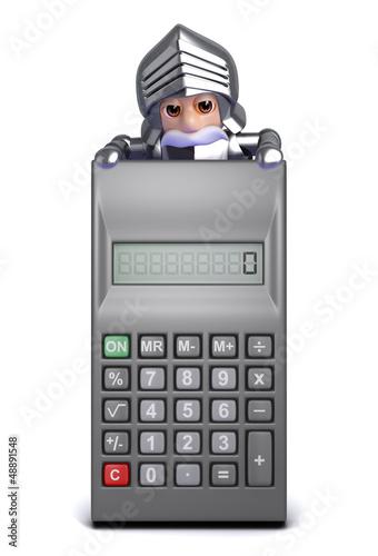 Knight looks over calculator